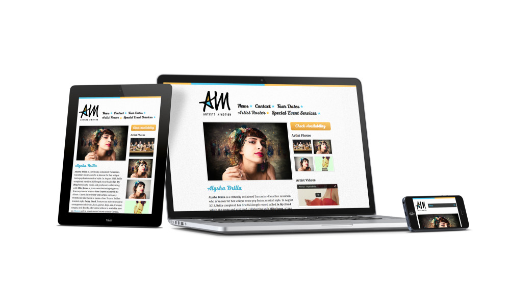 Responsive Design & Development, AIM Booking Agency