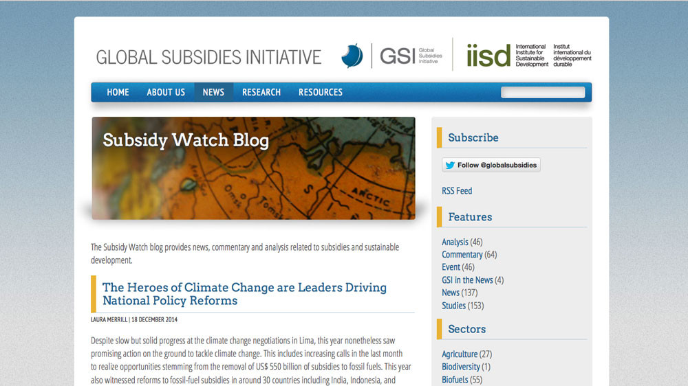 The International Institute for Sustainable Development's Global Subsidies Initiative (GSI)