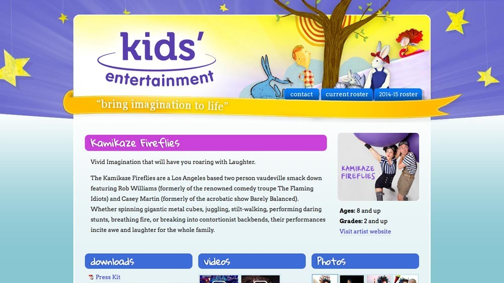 Website Design - Kids' Entertainment
