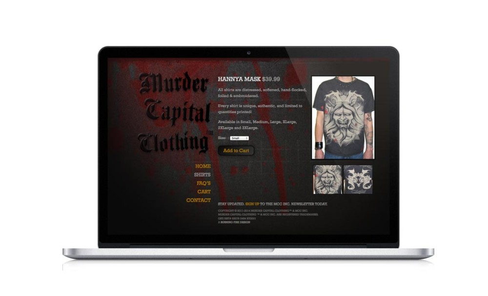 Web design and development, Murder Capital Clothing Inc.